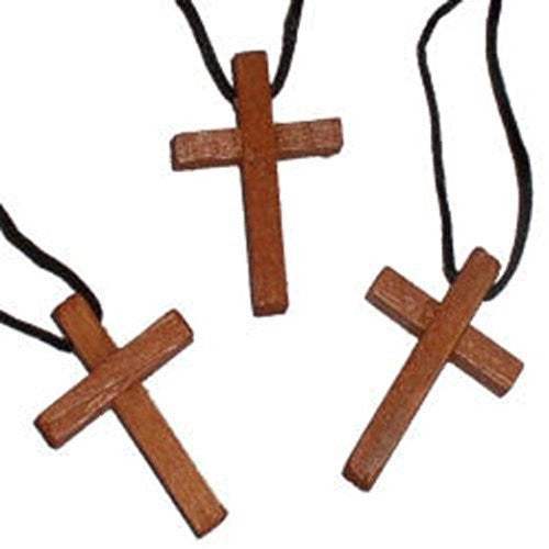 Wooden Cross Necklaces : Package of 10