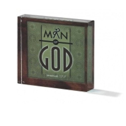 Man of God Encouragement Inspirational Glass Paperweight Tabletop Decor 3 Pack