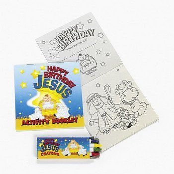 Happy Birthday Jesus Activity / Coloring Books with Crayons ~ 12 Sets