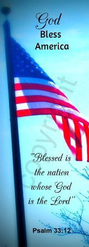 Blue Patriotic Flag God Bless America Jumbo Bookmarks Psalm 33:12 (50 Pack) 8.5""
