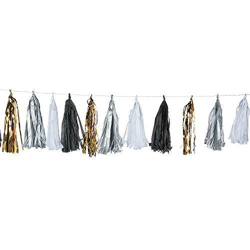 Black, White & Gold Tassel Garland (6 Ft.) Wedding Decoration