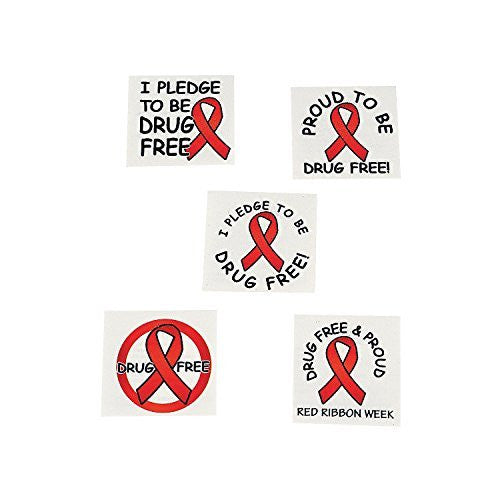 Red Ribbon Week Temporary Tattoos (72 Pieces) Drug Free & Proud!
