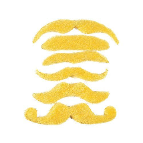 12 Synthetic Mustache Assortment - Costume Moustache (Yellow)