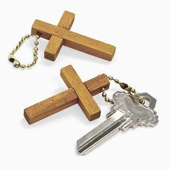 12 Wooden Cross Key Chains