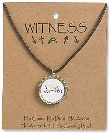 Witness Kids Bottle Cap Necklace Metal/Epoxy . H, L CordChristian Brands Gift Pack of 4