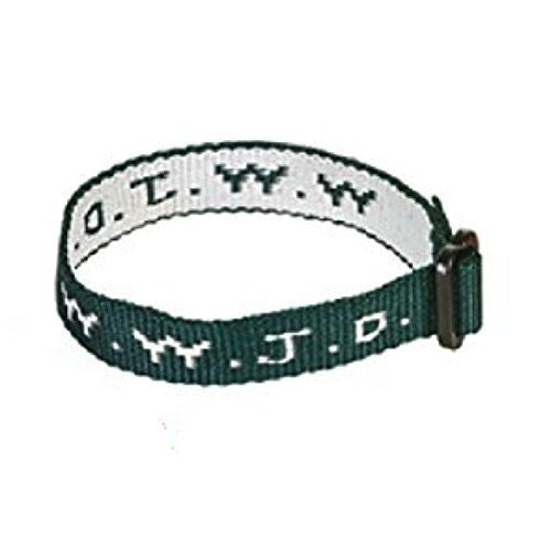 Hunter Green Woven WWJD Cloth Bracelet