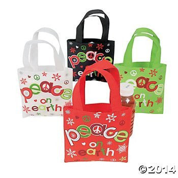 "12 Christmas - PEACE on EARTH - Mini TOTE BAGS Holiday PARTY FAVOR GIFT/Colorful Designs/6"" X 6"" POLYESTER"