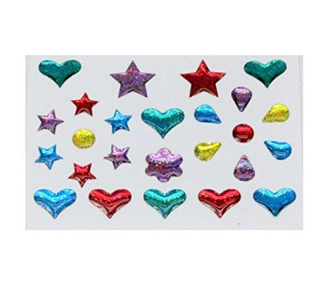 Adhesive Shape Stick on Stone Body Jewelry 25 Stones Per Sheet (12 Sheets). Plastic.