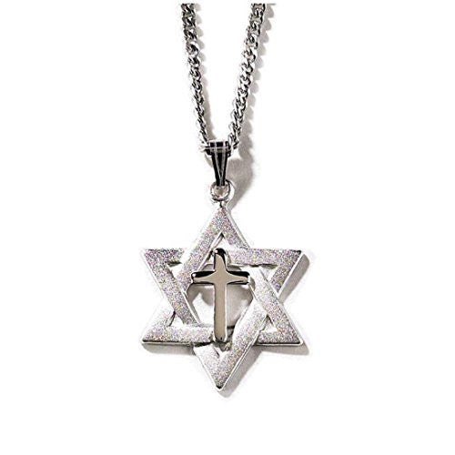 Dicksons Silver Plated Necklace Star of David with Cross on an 18 inch Chain