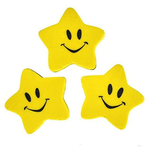 "1.5"" SMILE FACE STAR ERASERS TEACHER AWARDS (24 ERASERS)"