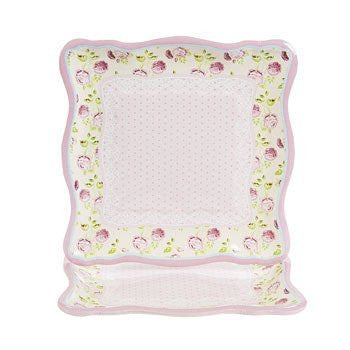 Vintage Collection Square Dinner Plates - Mother's Day & Party Tableware