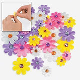 Pastel Fabric Self-Adhesive Daisies With Jewel Center - 36 pcs