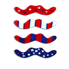 12 Red White Blue Patriotic Costume Mustache Stick On Stickers