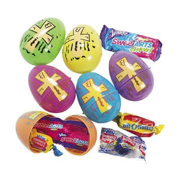 Candy-Filled Bright Religious Print Eggs - Sunday School & Party Supplies