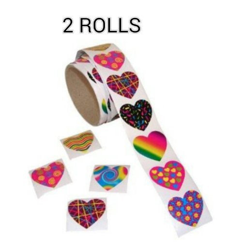 Funky Heart Roll Stickers (100 pc) (2 ROLLS)