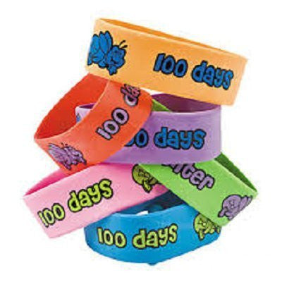 Dozen Rubber 100th Day of School Big Band Bracelets