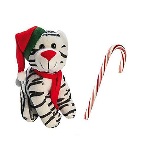 Plush Christmas Cat Kitten Stuffed Toy With Real Candy Cane