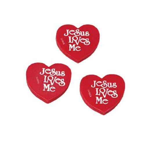 "Set Of 48 Religious Christian Heart Shaped ""Jesus Loves Me"" Erasers"