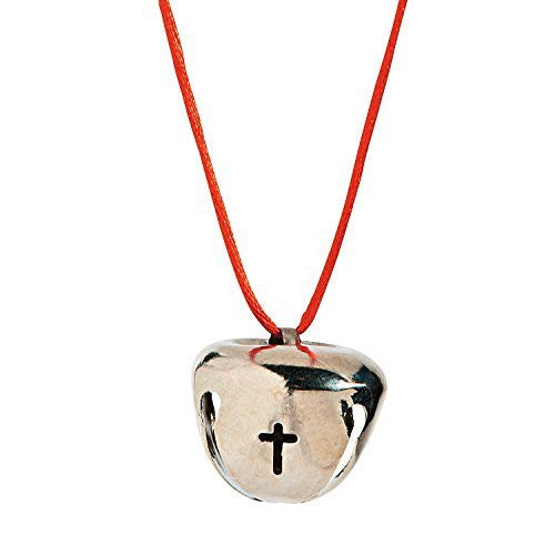 Metal Silver Jingle Bells with Cross Cutout