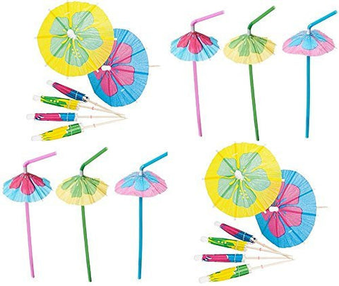 48 Hibiscus Parasol Umbrella Straws + 144 Matching Parasol Picks - Luau Party Lot