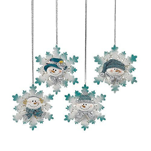 12 Resin Glitter Snowman Snowflake Christmas Ornaments/Holiday Decortions/Trim-A-Tree