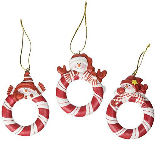 Red and White Snowman Picture Frame Ornaments, ONE DOZEN