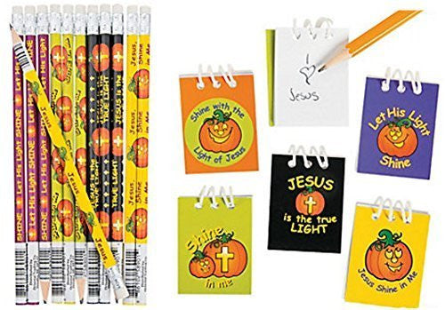 Christian Pumpkin Notepad and Pencils (48 Pieces)