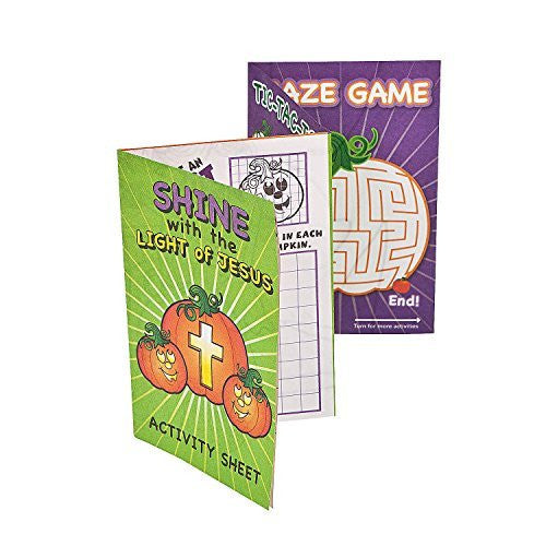 24 Halloween Shine with Jesus Christian Pumpkin Fold-up Activity Sheets