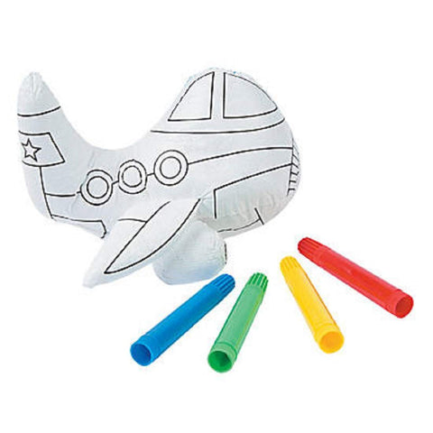 Color Your Own Plush Airplane Craft Kit Kid's Party Favor Art Set (5 Count)