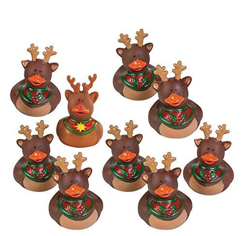 Fun Express Reindeer Rubber Duckies Christmas Duck Party Favors Set (Set of 9)