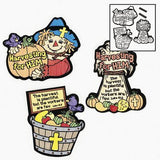 Color Your Own Harvest Fuzzy Inspirational Magnets - Religious Crafts & Fall Crafts