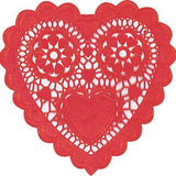 Red Heart Shaped 6in Doilies 20ct