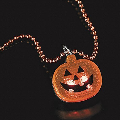 12 Halloween Alternaive Shine Beaded Necklaces with Light up Pumpkin
