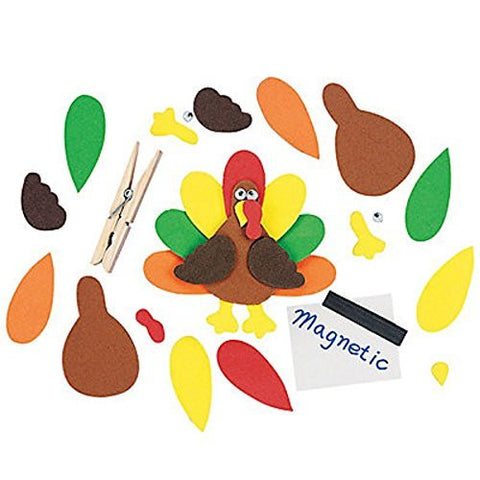 12 ~ Clothespin Turkey Magnet Craft Kits ~ New / Individually packaged ~ Thanksgiving craft