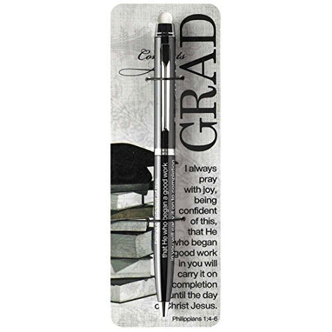 Dickson Gifts Graduate Black And Chrome Ball Point Ink Pens Philippians 1:4-6 (4 Count)