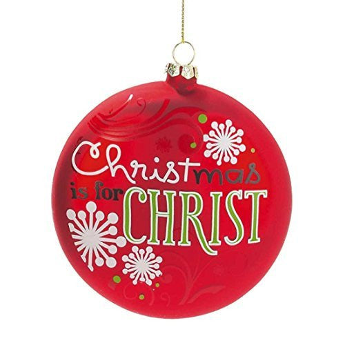 "Glass ""Christmas Is For Christ"" Red Christmas Ornaments (Set of 3)"