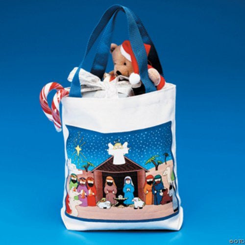 Christmas 5 Nativity Tote Bags Christian Canvas NEW