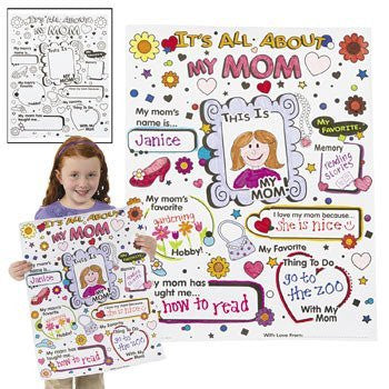 Color Your Own It's All About My Mom Posters - Crafts for Kids & Color Your Own