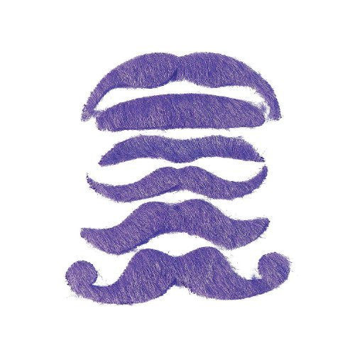 12 Synthetic Mustache Assortment - Costume Moustache (Purple) by Fun Express