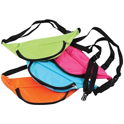 Assorted Neon Color Adjustable Fanny Packs (12)