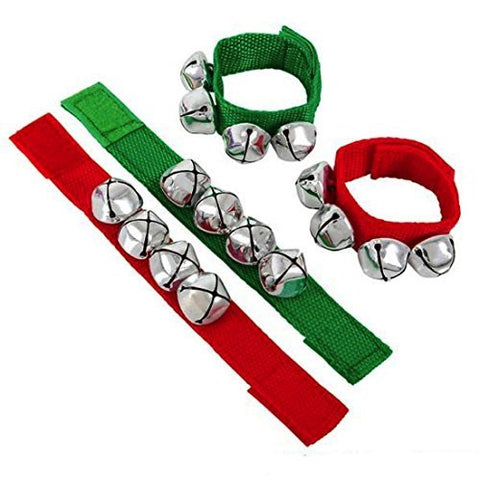 Christmas Red And Green Jingle Bell Bracelets (4 Pack)