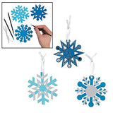 Paper Blue Magic Color Scratch Snowflake Christmas Ornaments - 24 Pieces