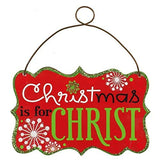 "Metal ""Christmas Is For Christ"" Christmas Ornaments (Set of 6)"