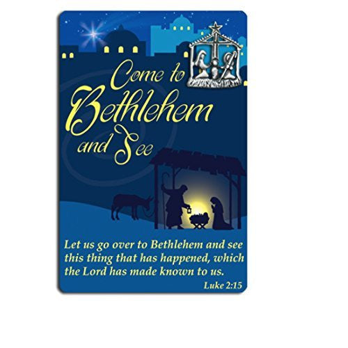 Come to Bethlehem and See Christmas Nativity Lapel Pin & Card