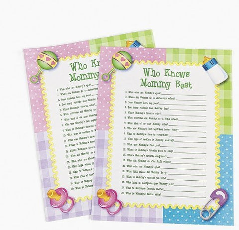 Who Knows Mommy Best Baby Shower Game (24 Sheets)