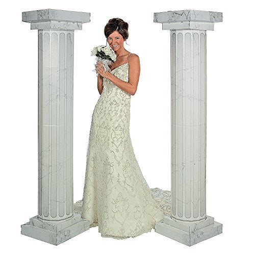 6' Marble Look Fluted Columns Pillars For Wedding Ceremony