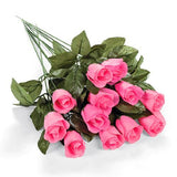 Polyester Pink Rosebuds With Dew Drops (1 dz)