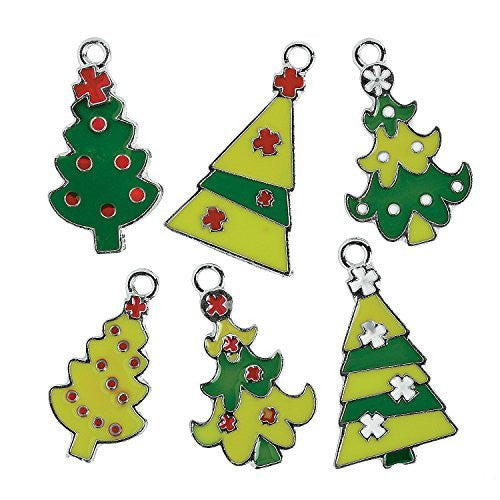 Metal Fun Christmas Tree Enamel Charms (12 Pcs)