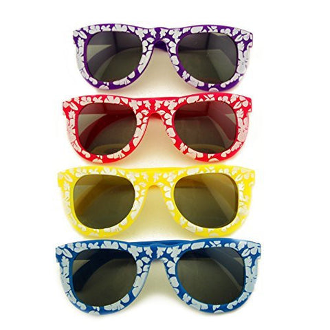 12 Pack Neon Colored Hibiscus Sunglasses