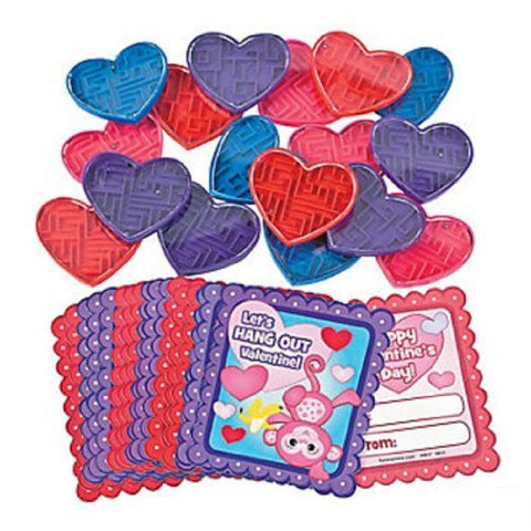 Lot of 36 Plastic Valentine Maze Puzzle Fun Favors with Exchange Cards